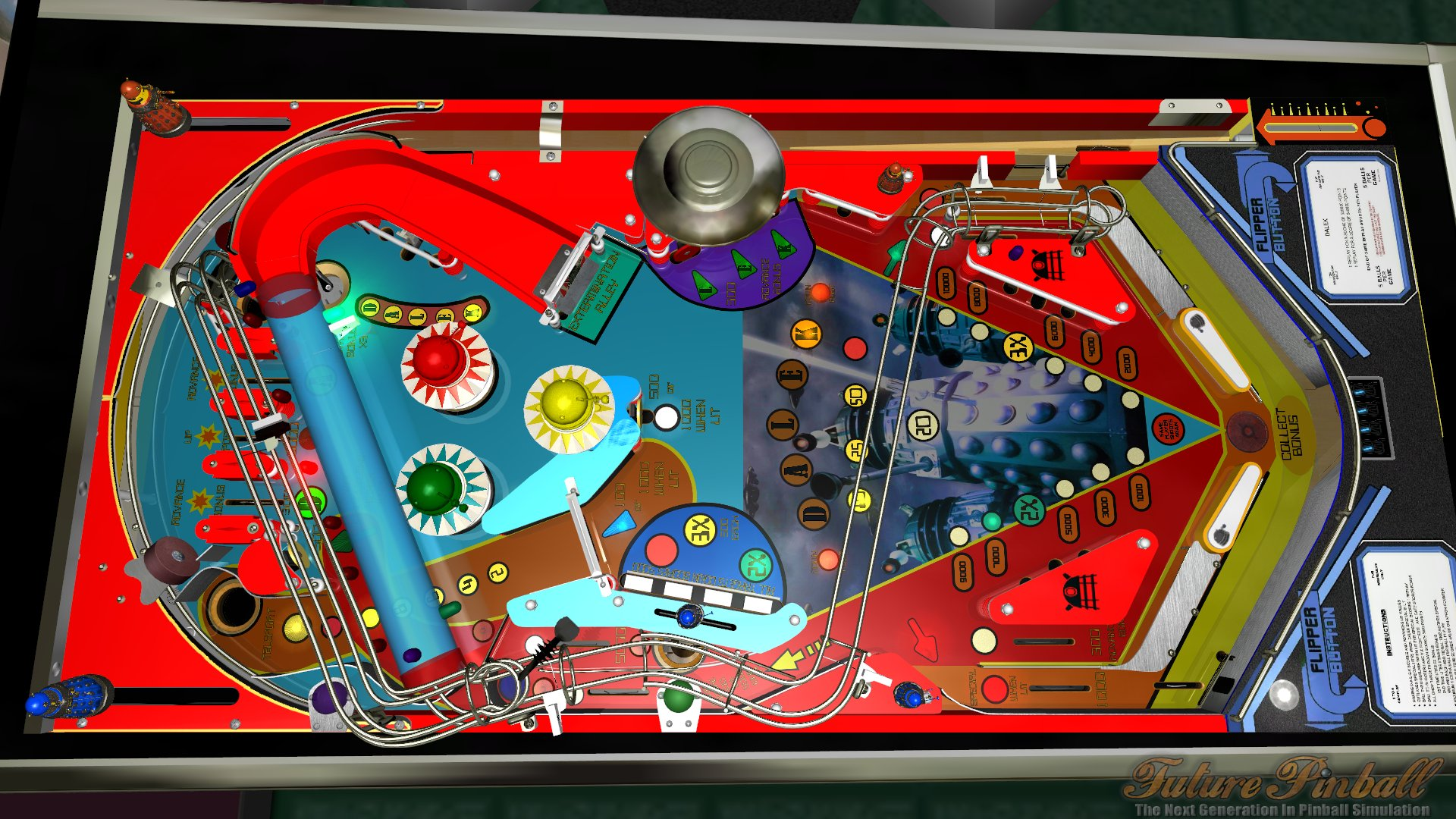 side view of playfield